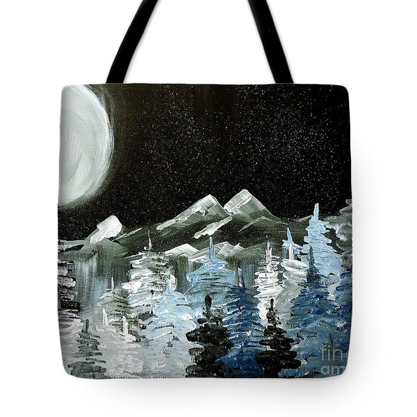 Mountain Winter Night Tote Bag by Tom Riggs