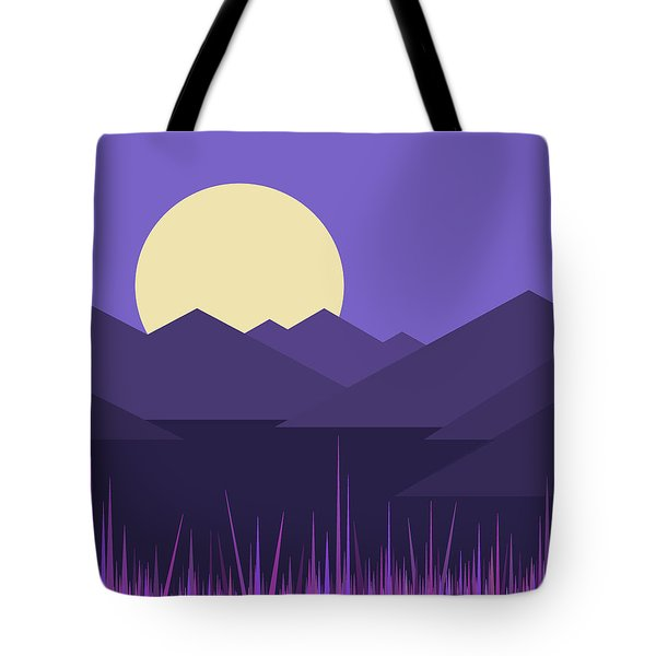 Tote Bag featuring the digital art Mountains And A Lavender Sky by Val Arie
