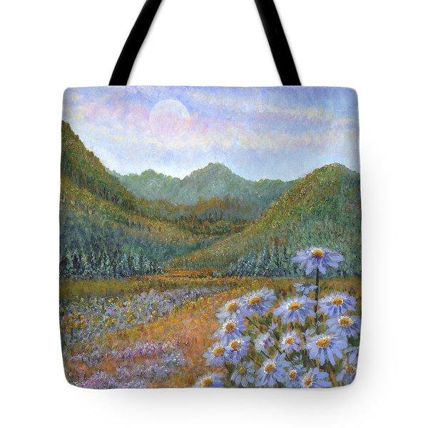 Mountains And Asters Tote Bag