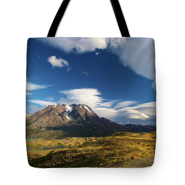 Mountains And Clouds In Patagonia Tote Bag