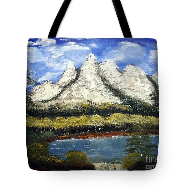 Mountains And Evergreens Tote Bag