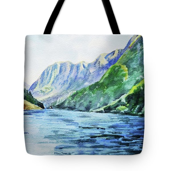 Mountains And Lake Watercolor Tote Bag