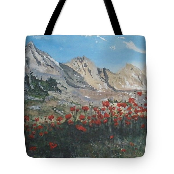 Tote Bag featuring the painting Mountains And Poppies by Betty-Anne McDonald
