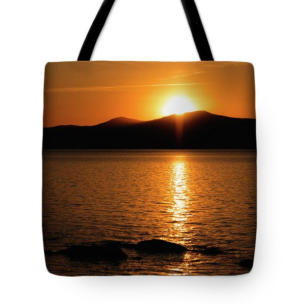 Mountains And River At Sunset Tote Bag