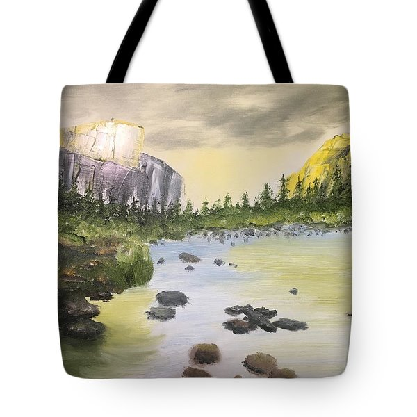 Mountains And Stream Tote Bag