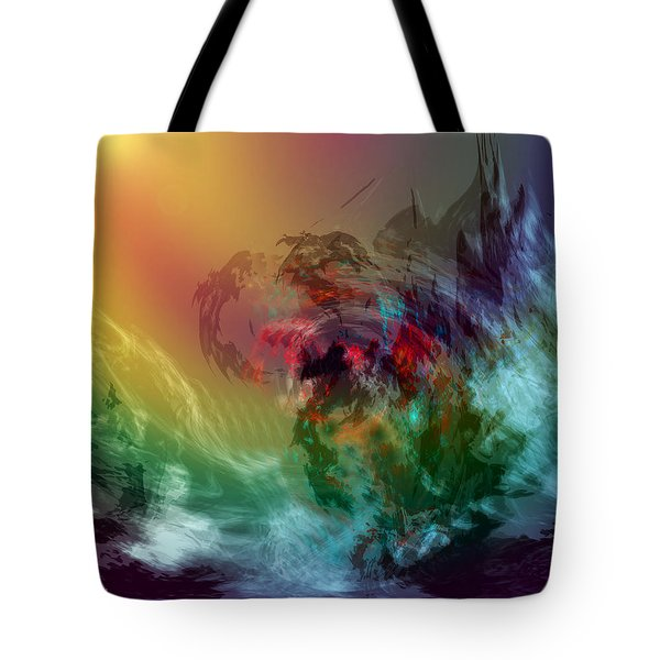 Mountains Crumble To The Sea Tote Bag by Linda Sannuti