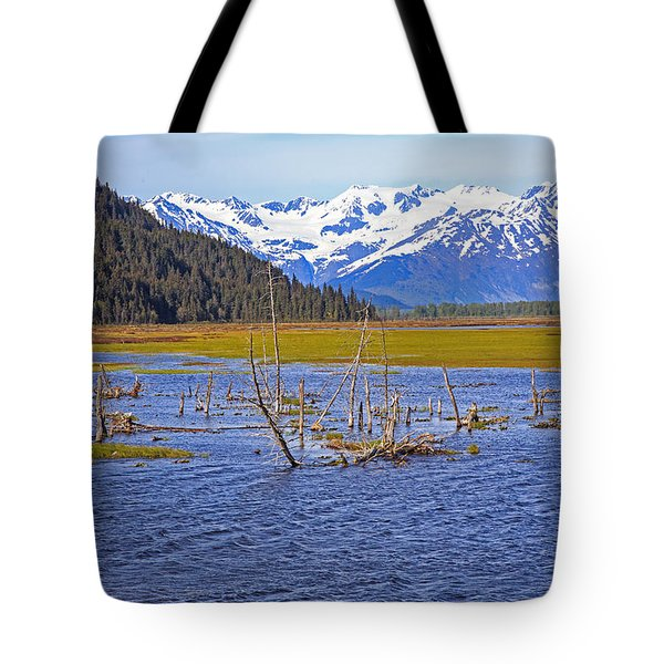 Mountains Forest And Water. Tote Bag by Allan Levin