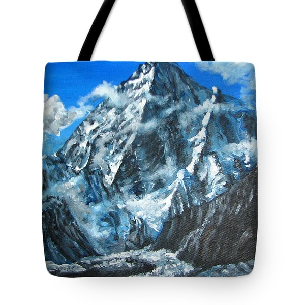 Mountains View Landscape Acrylic Painting Tote Bag by Natalja Picugina