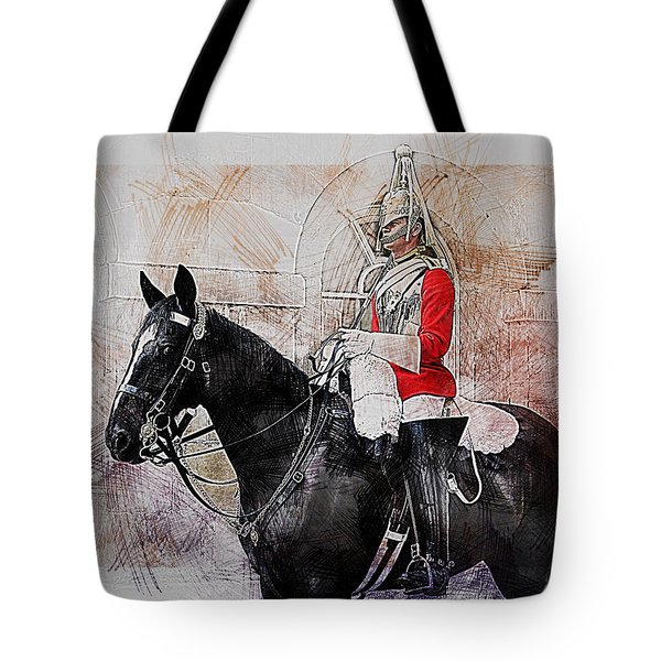Mounted Household Cavalry Soldier On Guard Duty In Whitehall Lon Tote Bag