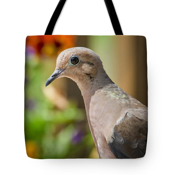 Mourning Dove And Flowers Tote Bag