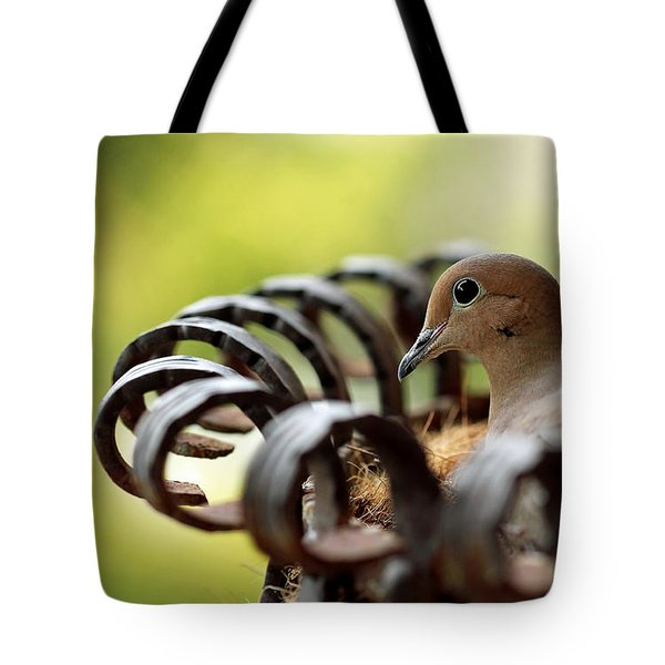 Mourning Dove In A Flower Planter Tote Bag