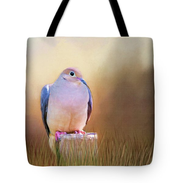 Mourning Dove Painted Portrait Tote Bag