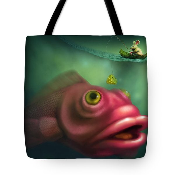 Mouse Fishing Tote Bag