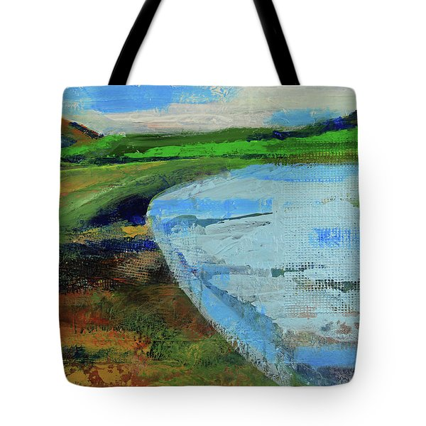Tote Bag featuring the painting Mouth Of The Creek by Walter Fahmy