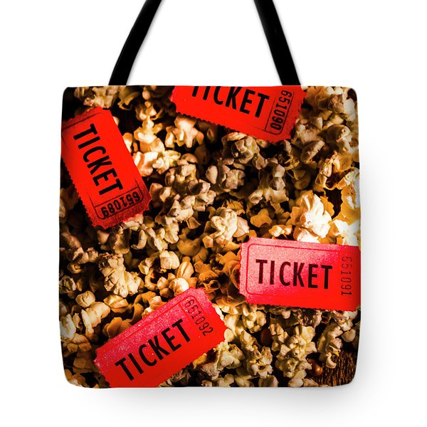 Movie Tickets On Scattered Popcorn Tote Bag