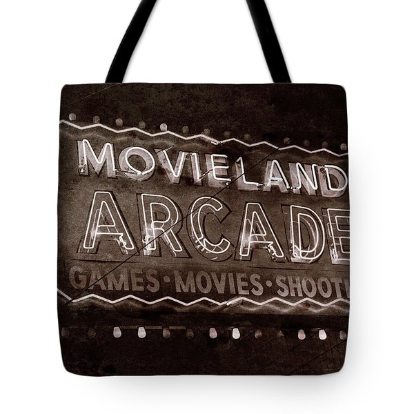 Tote Bag featuring the photograph Movieland Arcade - Gritty by Stephen Stookey