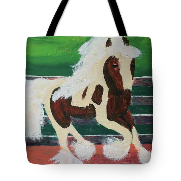 Tote Bag featuring the painting Moving Horse by Donald J Ryker III