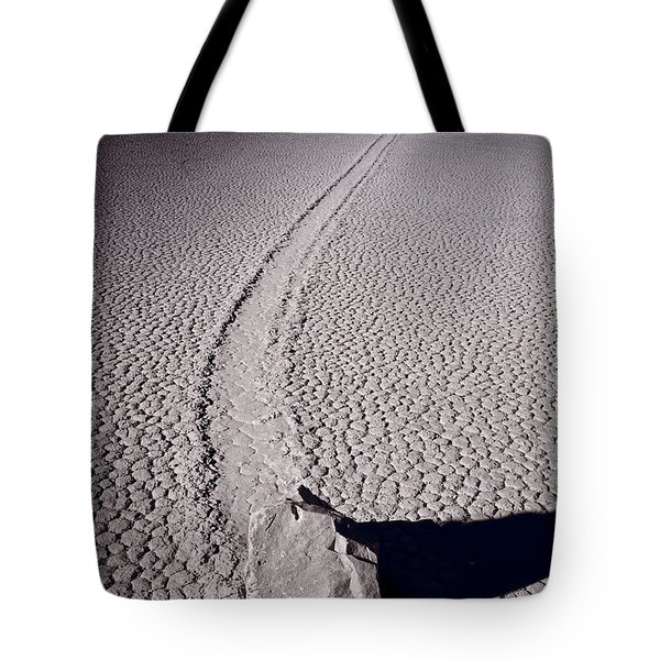 Moving Rocks Number 2  Death Valley Bw Tote Bag by Steve Gadomski