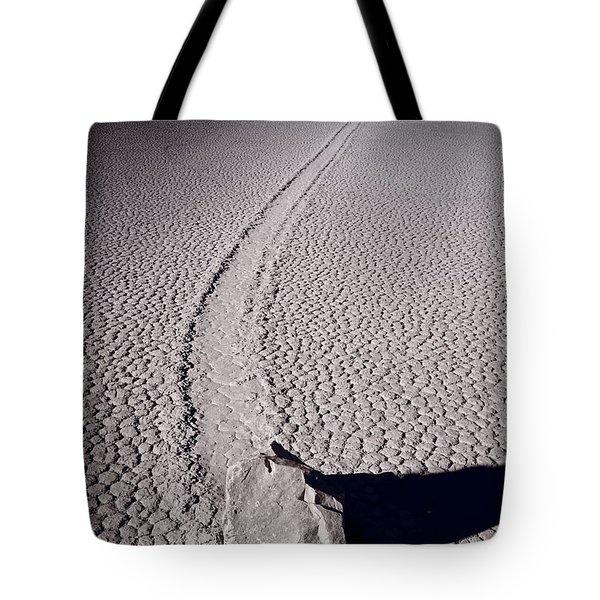 Moving Rocks Number 2  Death Valley Bw Tote Bag by Steve Gadomski