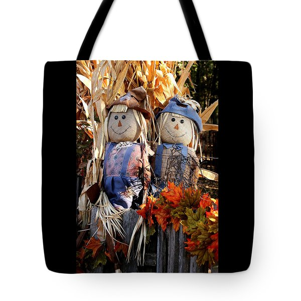 Tote Bag featuring the photograph Mr. And Mrs. Scarecrow by Sheila Brown