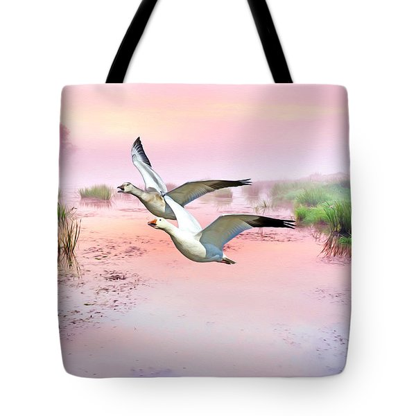 Mr. And Mrs. Snow Goose Tote Bag