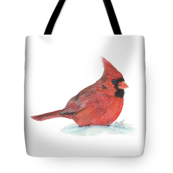 Tote Bag featuring the painting Mr Cardinal by Betsy Hackett