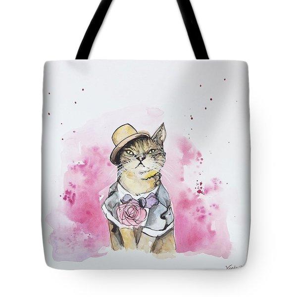 Mr Cat In Costume Tote Bag by Venie Tee