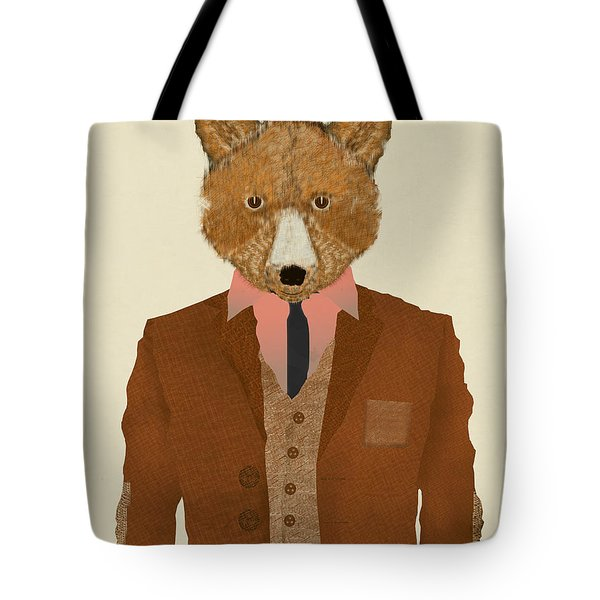 Tote Bag featuring the painting Mr Fox by Bri B