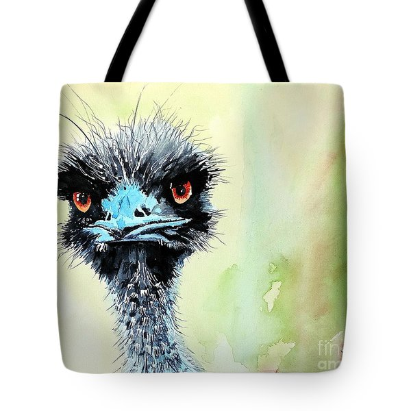 Tote Bag featuring the painting Mr. Grumpy by Tom Riggs