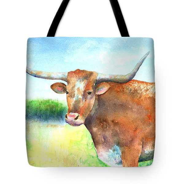 Mr. Longhorn Tote Bag by Arline Wagner