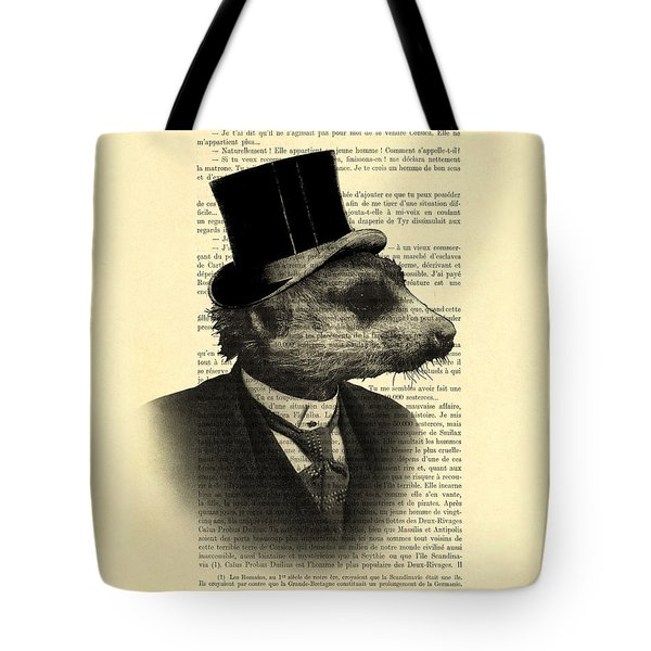 Meerkat Portrait In Black And White Tote Bag