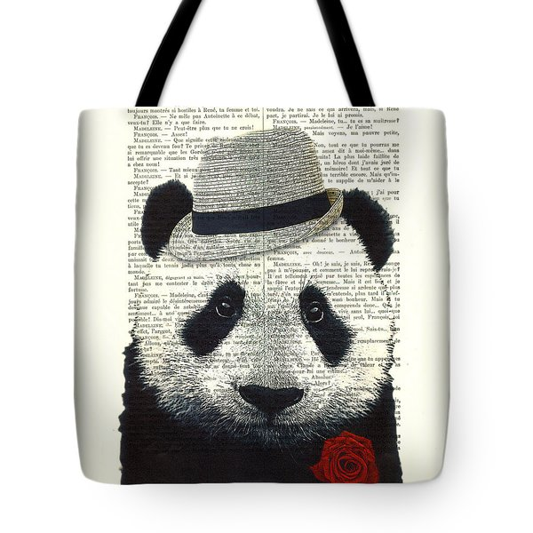 Panda With Fedora Hat En Red Rose Tote Bag