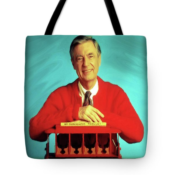 Mr Rogers With Trolley Tote Bag
