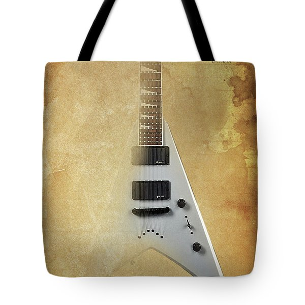 Dr House Inspirational Quote And Electric Guitar Brown Vintage Poster For Musicians And Trekkers Tote Bag