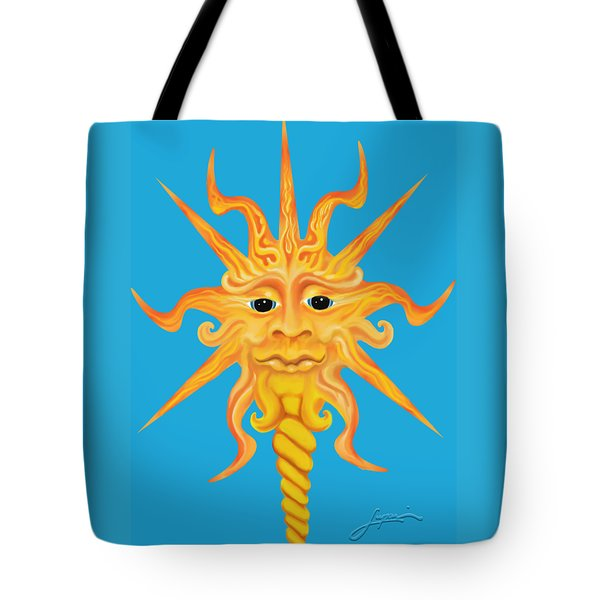 Tote Bag featuring the digital art Mr. Sunface by Thomas Lupari