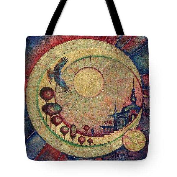 Tote Bag featuring the painting Mr Twardowski On The Moon by Anna Ewa Miarczynska