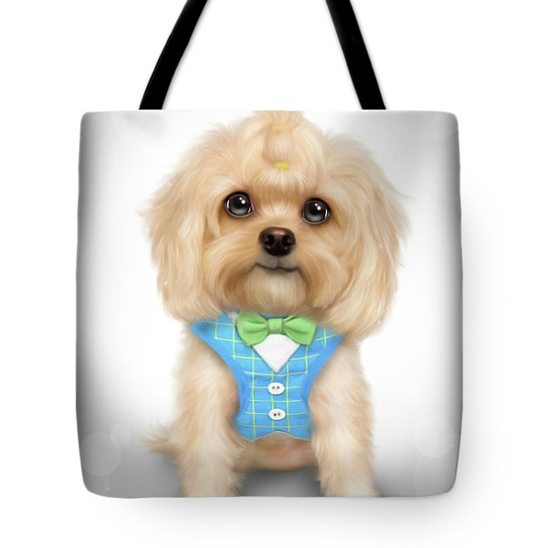 Tote Bag featuring the painting Mr.toby Waffles by Catia Lee