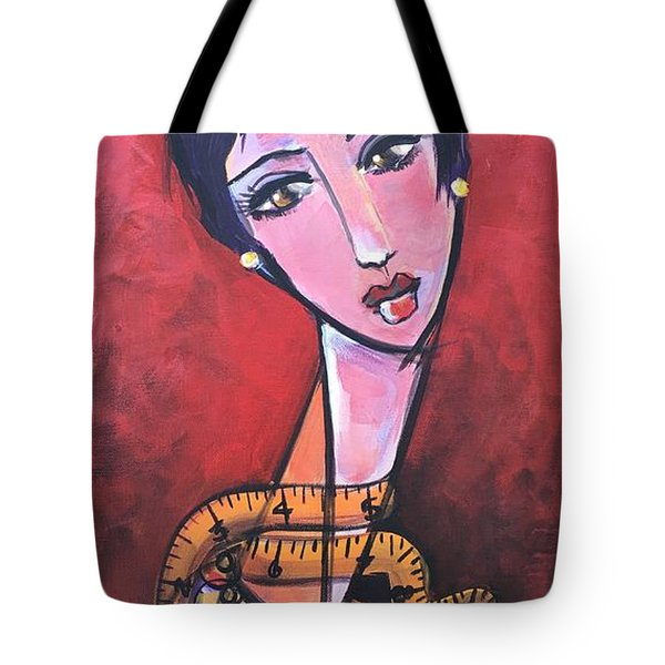 Tote Bag featuring the painting Ms. Bimba Fashionable Seamstress by Laurie Maves ART