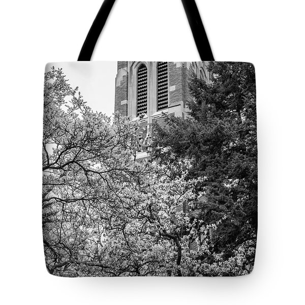 Msu Beaumont Tower Black And White 3 Tote Bag