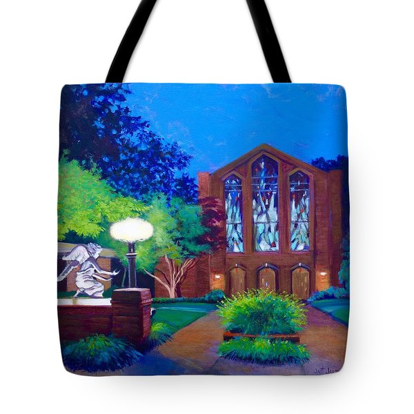 Tote Bag featuring the painting Msu Chapel Of Memories by Jeanette Jarmon