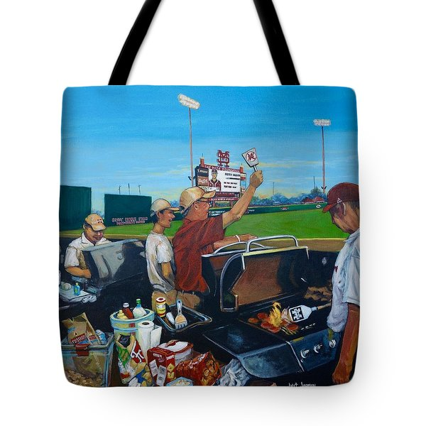 Tote Bag featuring the painting Msu Left Field Lounge by Jeanette Jarmon