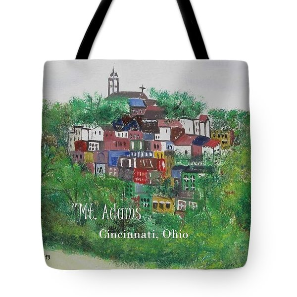 Mt Adams Cincinnati Ohio With Title Tote Bag