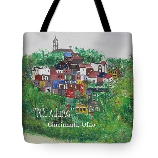 Mt Adams Cincinnati Ohio With Title Tote Bag