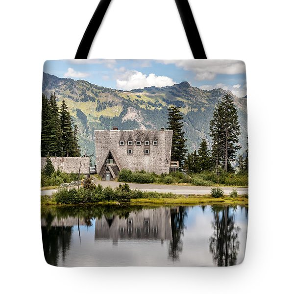 Tote Bag featuring the photograph Mt Baker Lodge In Picture Lake 1 by Rob Green