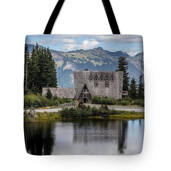Tote Bag featuring the photograph Mt Baker Lodge Reflecting In Picture Lake 3 by Rob Green