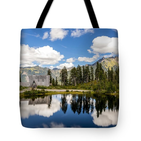 Tote Bag featuring the photograph Mt Baker Lodge Reflection In Picture Lake 2 by Rob Green