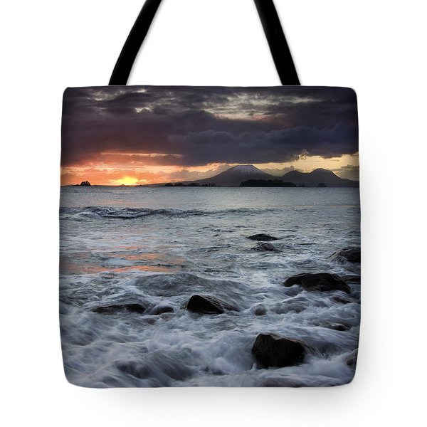 Mt. Edgecumbe Sunset Tote Bag by Mike  Dawson