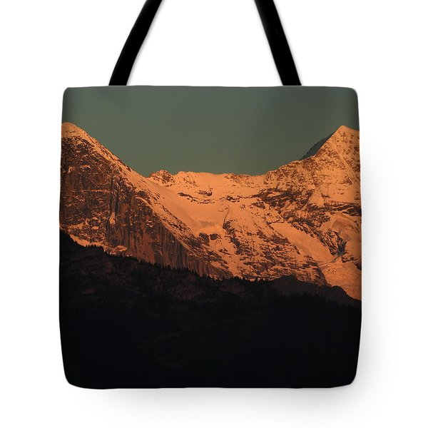 Mt. Eiger And Mt. Moench At Sunset Tote Bag