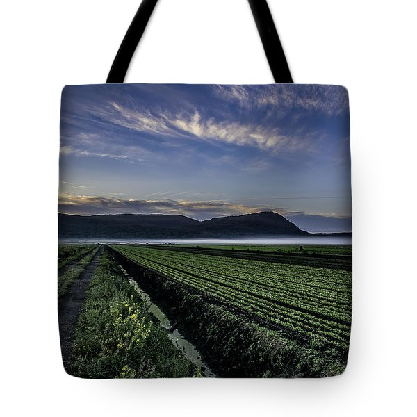 Dawn And Fog Over The Farmland Tote Bag