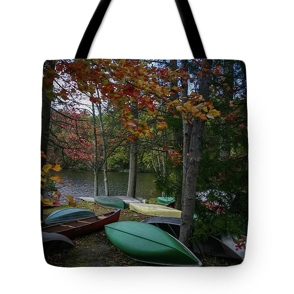 Mt. Gretna Canoes In Fall Tote Bag